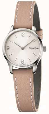 Calvin Klein Bandoulière en cuir beige sans fin pour femme, cadran blanc K7V231Z6