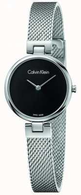 Calvin Klein Womans authentique bracelet en maille en acier inoxydable cadran noir K8G23121