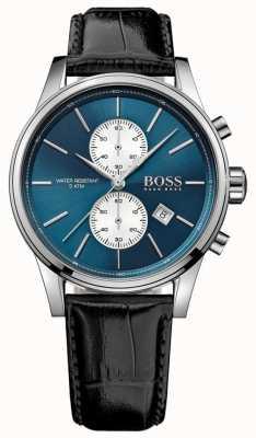 Hugo Boss Chronographe homme jet chronographe bracelet en cuir noir cadran bleu 1513283