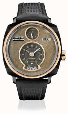 REC P51-03 mustang bracelet en cuir noir automatique