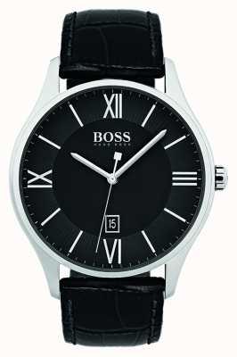 Hugo Boss Montre à bracelet en cuir noir classique pour hommes 1513485