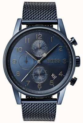 Boss Montre navigator bleue en métal à mailles pour navigateur 1513538