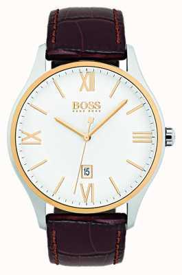 Hugo Boss Montre homme à cadran blanc classique avec bracelet en cuir marron 1513486
