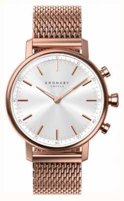 Kronaby 38mm carat bluetooth rose plaqué or maillage smartwatch A1000-1400