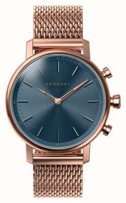 Kronaby 38mm carat bluetooth rose cadran bleu doré smartwatch A1000-0668