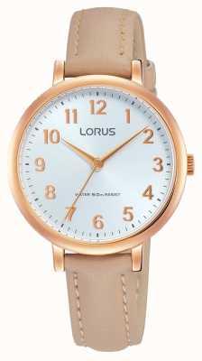 Lorus Bracelet en cuir beige en cuir blanc Womans RG234MX8