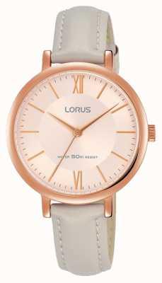 Lorus Bracelet cuir en cuir doré et rose rose pour femme RG264MX9