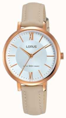 Lorus Bracelet en cuir à cadran doré en cuir Womans RG264LX8
