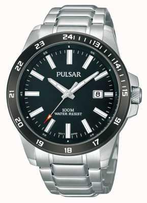 Pulsar Bracelet en acier inoxydable noir cadran noir PS9223X1