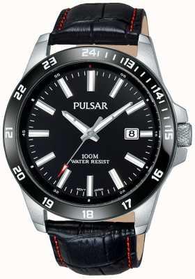 Pulsar Bracelet en cuir noir pour hommes cadran noir PS9463X1