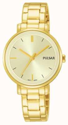 Pulsar Bracelet en champagne en acier inoxydable plaqué or en cuir Womans PH8360X1