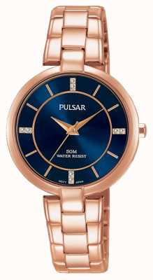 Pulsar Womans rose or bracelet en acier inoxydable cadran bleu PH8326X1
