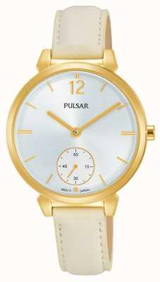 Pulsar Bracelet en cuir creme femme cadran argenté PN4058X1