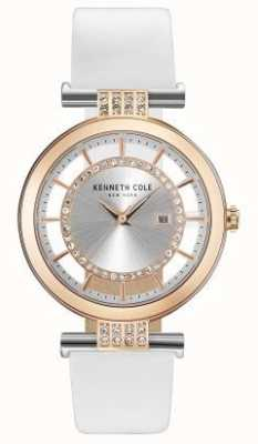 Kenneth Cole Womans transparent cadran bracelet en cuir blanc KC15005002