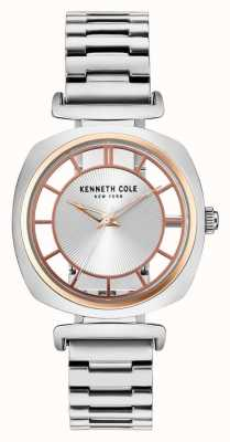 Kenneth Cole Bracelet en acier argenté en cuir contrasté en cuir Womans KC15108002
