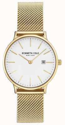 Kenneth Cole Bracelet en maille en acier inoxydable plaqué or en cuir blanc Womans KC15057006