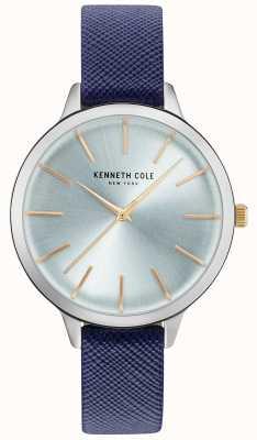 Kenneth Cole Cuir bleu à la main de la ceinture de la mère de perle KC15056003