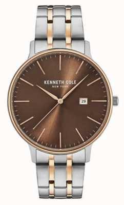Kenneth Cole Bracelet en acier à deux tons en cuir marron marron KC15095001