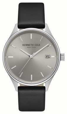 Kenneth Cole Hommes gris clair marquage cadran cuir noir KC15112002