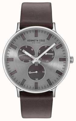 Kenneth Cole Bracelet en cuir brun foncé multifonction KC14946001