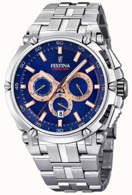 Festina Mens chronobike 2017 en acier inoxydable bleu rose chrono d'or F20327/4