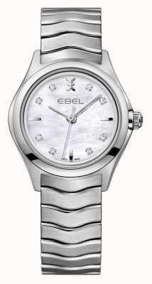 EBEL Montre en acier inoxydable sertie de diamants Wave pour femmes 1216193