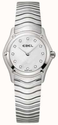 EBEL Montre en acier inoxydable sertie de diamants pour femmes classiques 1215421