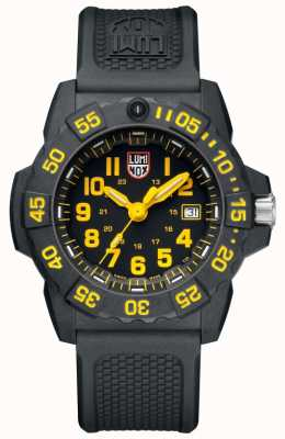 Luminox Sceau de la marine 3500 cadran noir marquage jaune pu sangle noire XS.3505