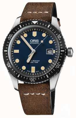Oris Divers soixante-cinq bracelet en cuir marron automatique cadran bleu 01 733 7720 4055-07 5 21 02