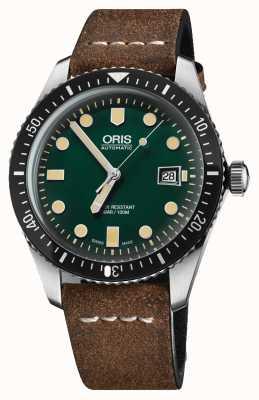 Oris Divers soixante-cinq bracelet en cuir marron automatique cadran vert 01 733 7720 4057-07 5 21 02