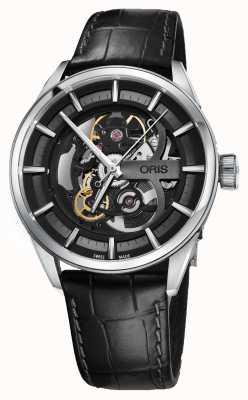 Oris Artix skeleton bracelet en cuir noir automatique 01 734 7714 4054-07 5 19 81FC