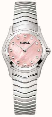 EBEL Femme classique 12 diamants sertie cadran rose en acier inoxydable 1216279