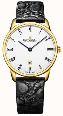 Dreyfuss Mens 1980 bracelet en cuir montre plaqué or DGS00136/01