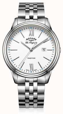 Rotary Mens bracelet en acier inoxydable cadran blanc GB90194/01