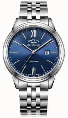 Rotary Mens bracelet en acier inoxydable cadran bleu GB90194/05
