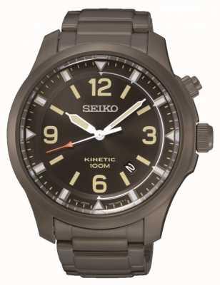 Seiko Mens cinétique noir ip en acier inoxydable SKA707P9