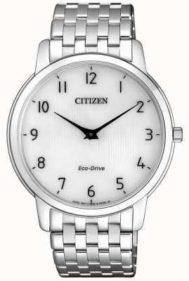 Citizen Montre stiletto ultra mince en acier inoxydable pour homme à cadran blanc AR1130-81A