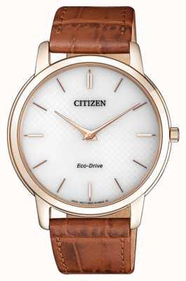 Citizen Bracelet en cuir marron ultra-mince éco-drive pour hommes AR1133-15A