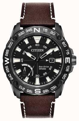 Citizen Garantie de marche en cuir marron éco-drive homme AW7045-09E