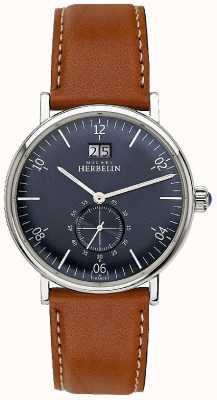 Michel Herbelin Inspiration pour hommes 1947 bracelet en cuir marron cadran bleu 18247/15GO