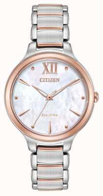 Citizen Montre en or rose à deux tons pour femme EM0556-87D