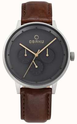 Obaku Montre bracelet cuir homme venlig V208GMCJRN