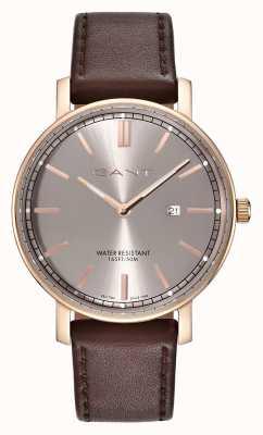 GANT Bracelet en cuir marron pour homme nashville cadran gris GT006006