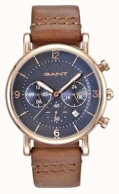 GANT Bracelet en cuir marron homme springfield bleu GT007003