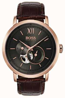 Hugo Boss Montre automatique automatique en cuir marron 1513506