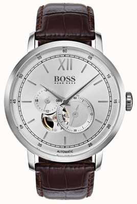 Hugo Boss Montre automatique automatique en cuir marron 1513505