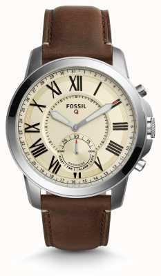 Fossil Q grant hybride smartwatch cuir marron foncé FTW1118