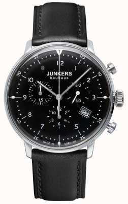 Junkers Mens bauhaus chronographe bracelet en cuir noir noir 6086-2