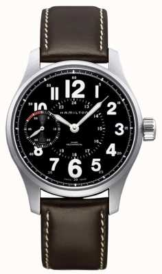 Hamilton Khaki field officer mécanique cuir marron H69619533