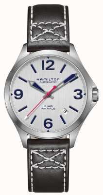 Hamilton Courbe d'air Khaki 38mm cuir noir H76225751